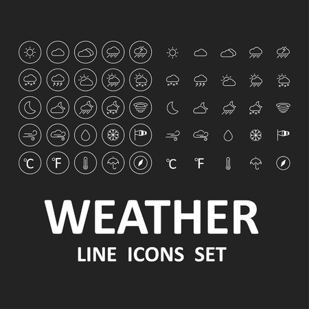 Set of weather line icons
