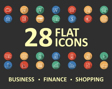 Business, finance, shopping icons in flat syle