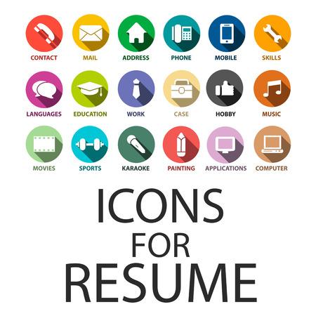 competencias laborales: Iconos de establecen para su curriculum vitae, CV, Trabajo Vectores