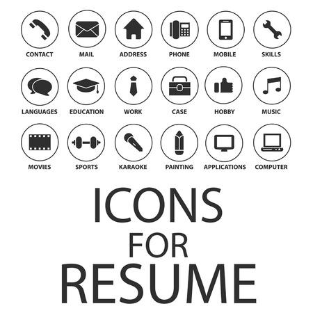 Iconos de establecen para su curriculum vitae, CV, Trabajo Foto de archivo - 50433372