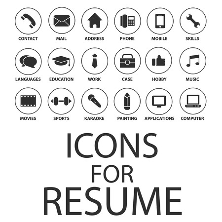 contact person: Icons set for your Resume, CV, Job