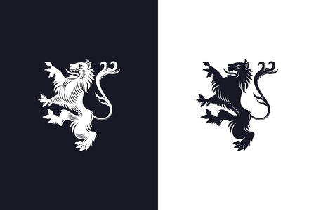 design of a standing rampant heraldic lion on light and dark backgrounds. Heraldry design Illustration