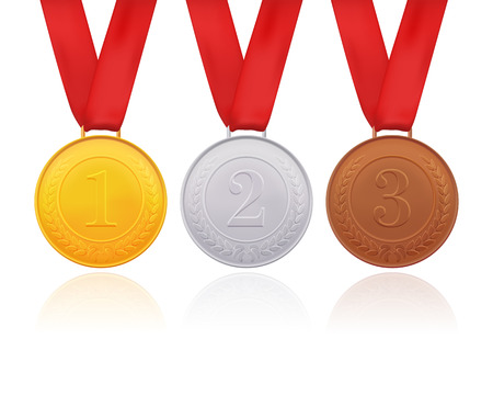 Gold, silver and bronze medals isolated on white background.