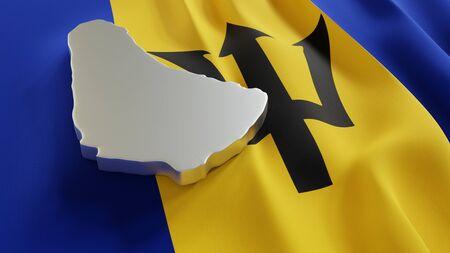 3d map of Barbados resting on national flag backdrop. 3d illustration