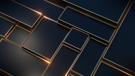 Black and gold metallic boxes reflecting glints of warm light. Abstract technology background. 3d rendering