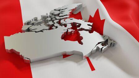 3d map of Canada resting on national flag backdrop. 3d illustration