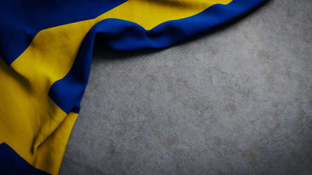 Flag of Sweden on concrete backdrop. Swedish flag background with copy space Stock fotó