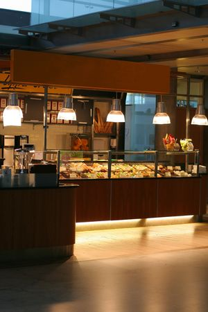 bolster: Small caf� at an airport