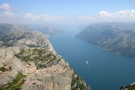 Pulpit rock with Lysefjorden in the background Stock Photo - 2263848
