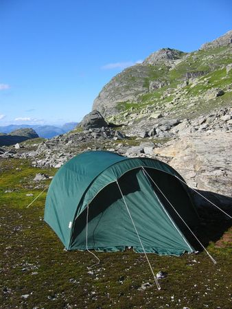 campsite: Campsite in the mountains. Stock Photo