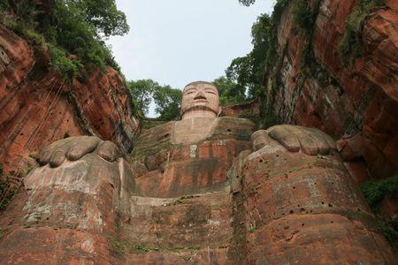 mountainside: Grand Buddha statue in Leshan, China