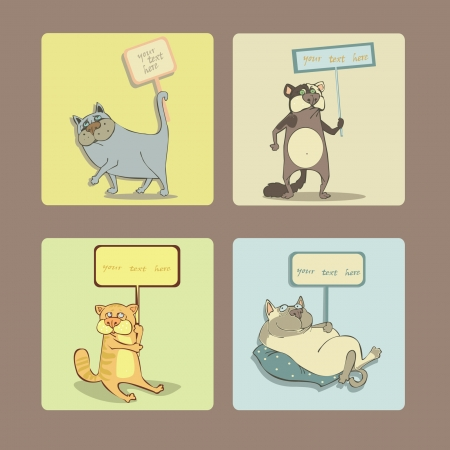 a set of frameworks of cats and text Stock Vector - 23106642