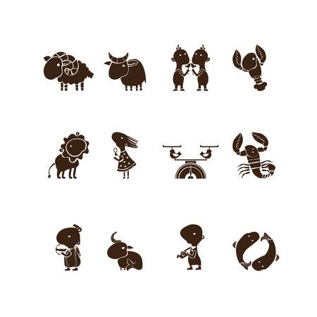 signes du zodiaque: C'est un jeu de caract�res des signes zodiacaux Tous les douze constellations sont pr�sent�s dans un ensemble de symboles Illustration