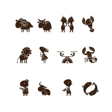 It's a character set of zodiacal signs  All  twelve constellations  are  presented in a set of symbols  Vector