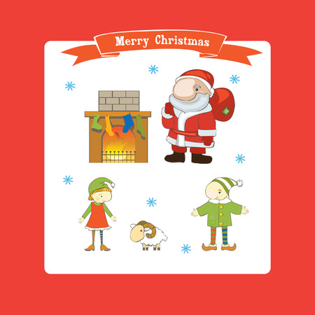 Set of Christmas characters  Vector