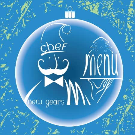 Christmas restaurant menu design  Image of the chef with tray on vintage background  Vector