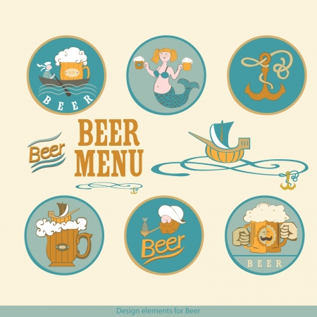 Design elements for beer   Sea subjects for beer design   Vector