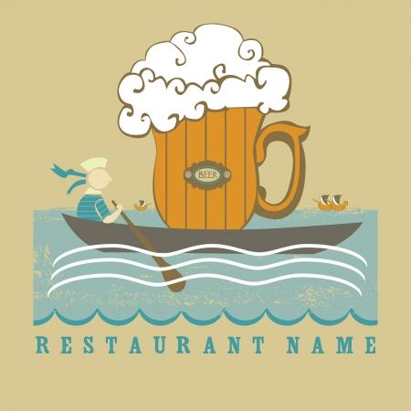 Sea subjects for beer design  The seaman  Ilustração