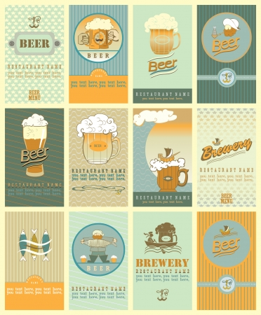 Set  contains the images of design elements for beer's labels  Çizim