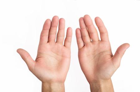los hombres abiertos manos sobre un fondo blanco Foto de archivo