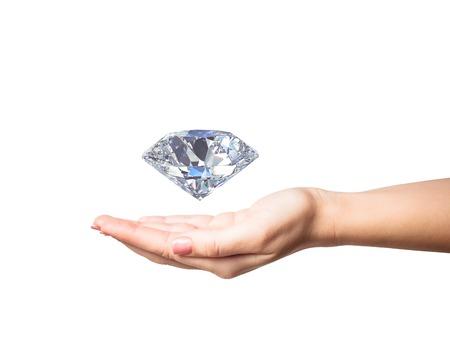 woman hand holding 3d diamond over white background