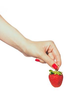 Mani manicured donna con unghie rosse lucido azienda fragole fresche su sfondo bianco. Archivio Fotografico - 80698085