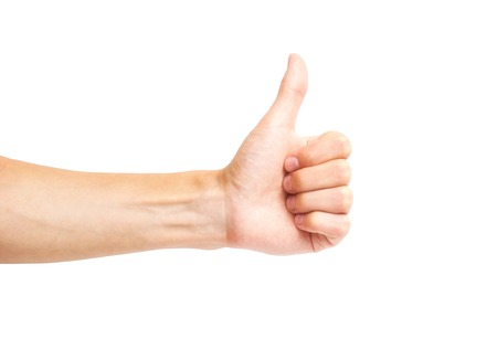 man hand Thumb up isolated on white background