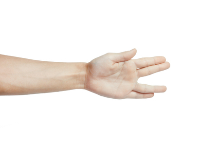 Man hand gesturing like peace isolated on white background.