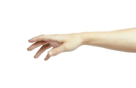 Human manicured hand in picking gesture isolate on white background with clipping path Stock Photo
