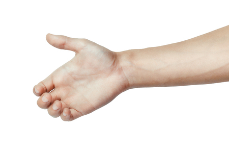 else: Male hand holding like a bottle, card or something else isolated on a white background. Stock Photo