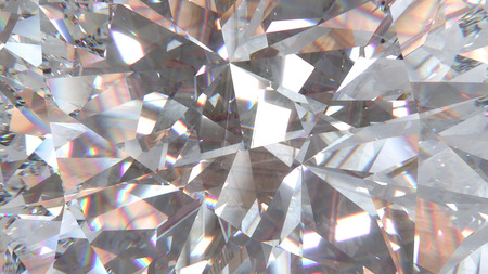 Realistic diamond with caustic close up texture, 3D illustration.