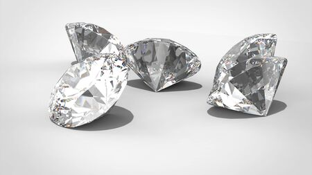 five exelent Diamonds isolated on white 3D rendering model. isolated. render Imagens