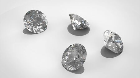 Diamonds isolated on white 3D rendering model. isolated. render