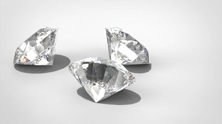 Luxury diamonds on whte backgrounds, 3D rendering model