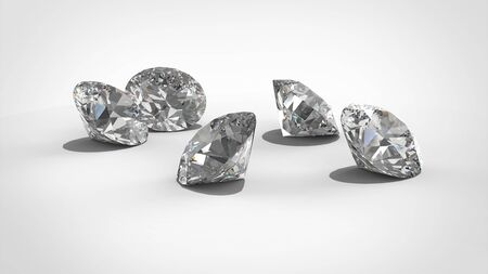 Luxury diamonds on whte backgrounds . 3D rendering model Banco de Imagens