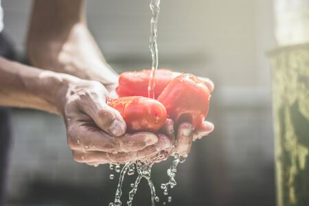 Man wash tomatos under splash of fresh water in sunny day