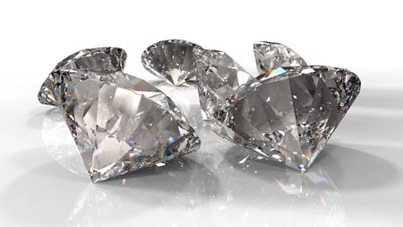 Close-up view of a clear round brilliant cut diamond with caustics rays on white background. 3D rendering illustration