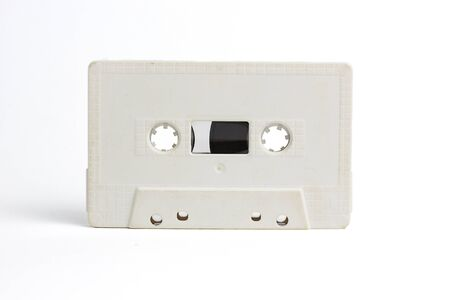 old white Audio cassette isolated on white Stock fotó