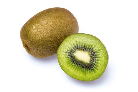 actinidia deliciosa: A whole and half kiwi as Cut . Stock Photo