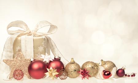 balls decorated: Christmas gift box and balls