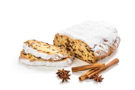 クリスマス ・ シュトーレンは白い背景に分離されました。 写真素材