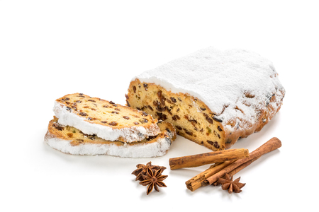 Christmas Stollen isolated on white background.