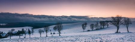 Winter Landscape after sunset. Stock Photo
