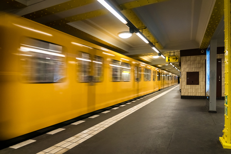 Berlin Subway metro underground - Yellow Train moving - nobody