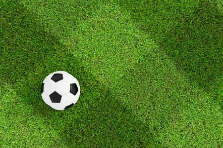soccer field and ball top view background - Checkered Texture. Stock Photo