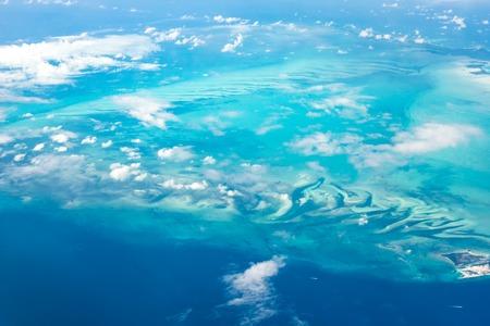 Aerial view of Bahama island - Berry Islands at Atlantic ocean.