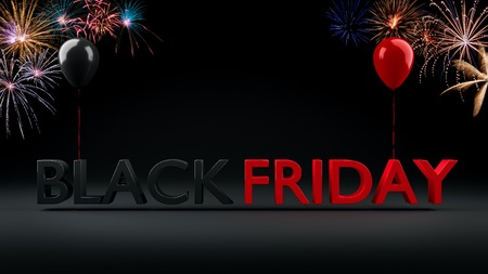 Black Friday Sale Banner with shiny balloons and bursting firework, 3D-Illustration. Stock Photo
