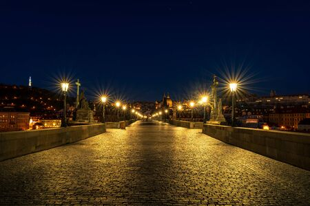 Night view of Charles Bridge in Prague. Czech Republic