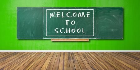 Welcome to School Text at green chalkboard, blackboard texture with copy space hangs on green grunge wall and wooden floor 3D-Illustration Stock Photo