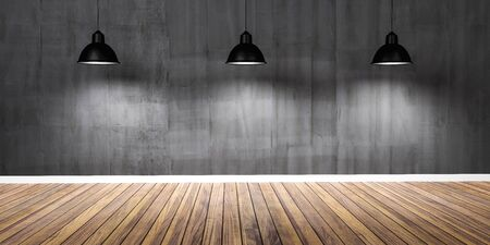 Room with three lamps, concrete black wall and wooden floor 3D Illustration Imagens